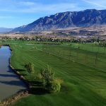 aerial view golf lake