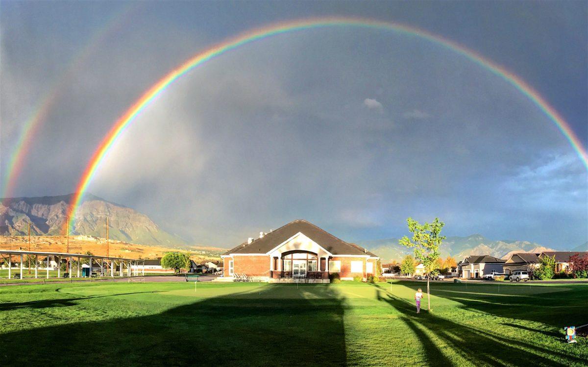 golf rain rainbow