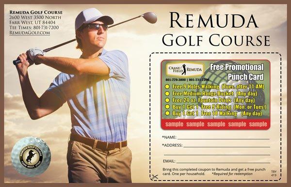 postcard promotional golfer